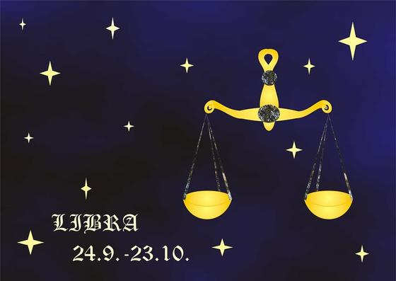 Знак зодиака Весы на синем фоне