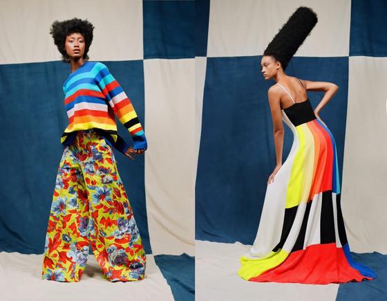 Яркие наряды в стиле color blocking на моделях