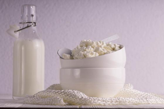 Молоко в бутылке и творог в миске