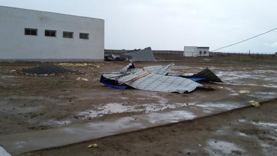 Атырау облысында дауыл тұрып, мектептердің шатырын ұшыпы әкеткен (фото, видео)