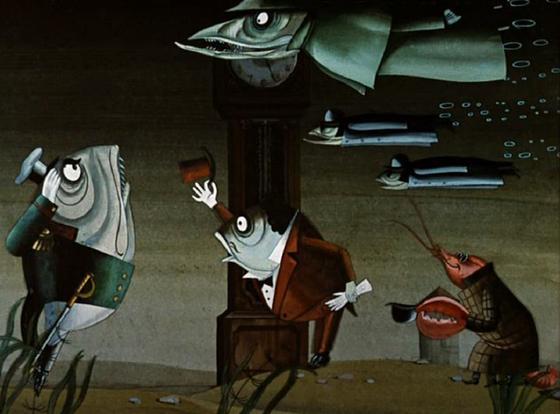 Кадр из мультфильма «Премудрый пескарь»