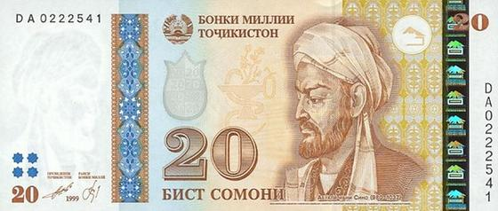 Портрет Ибн Сины на национальной валюте Таджикистана