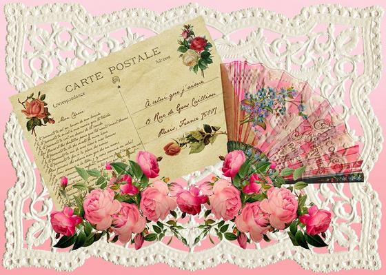 Старинное поздравление открыткой и цветами