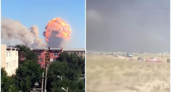 Видео взрывов в Арыси появилось в Сети
