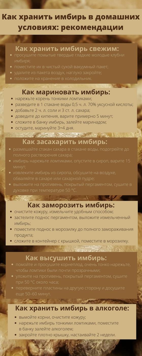 Рекомендации по хранению имбиря в домашних условиях (инфографика)