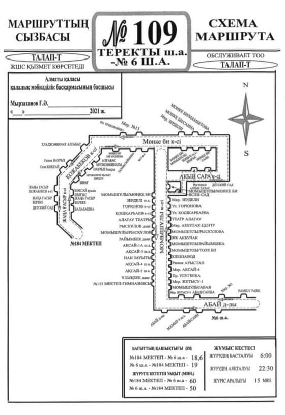 Схема маршрута № 109