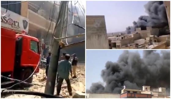 Пассажирский самолет упал на жилые дома в Пакистане (видео)