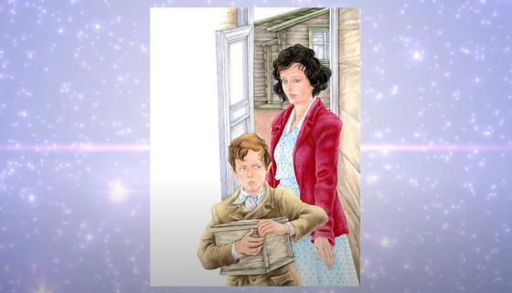 Учительница и ученик с посылкой в руках (иллюстрация к рассказу «Уроки французского»)