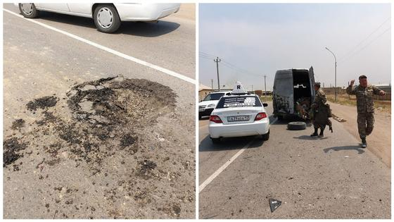 Взрывы в Арыси: артиллерийский снаряд упал на дорогу в 20 км от места ЧП (фото)
