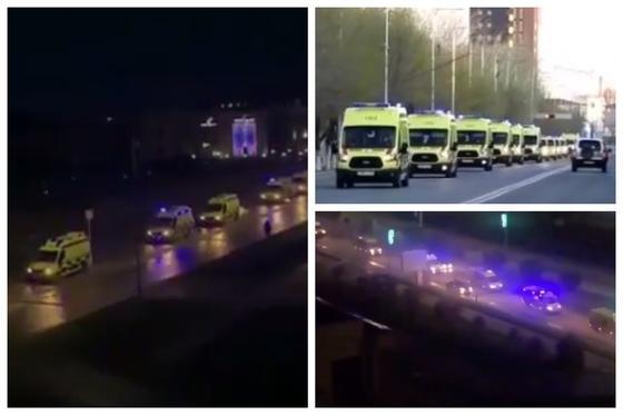 Колонны машин скорой помощи напугали казахстанцев (видео)