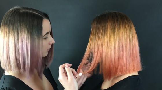 Разноцветное омбре на коротких волосах