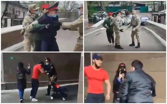 Мужчина с детской коляской едва не подрался с полицейским в Алматы (видео)