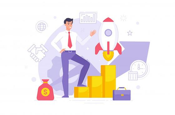 Мужчина, ракета, графики, мешок денег, портфель