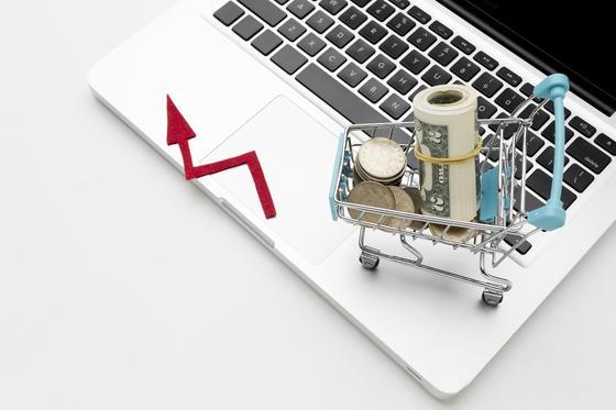 Тележка с деньгами на ноутбуке