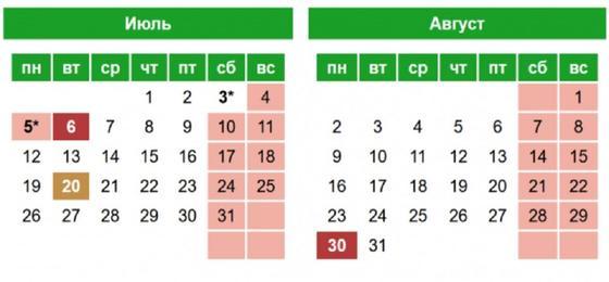 Календарь праздников на июль-август 2021 года
