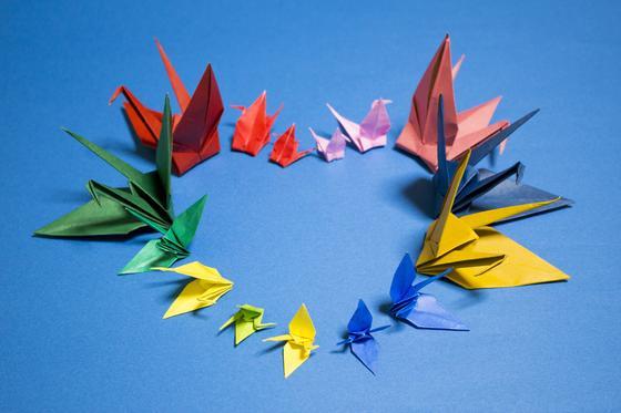 Оригами в форме журавликов