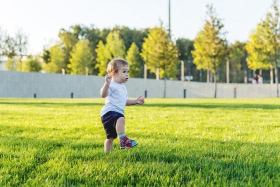 Ребенок на зеленой лужайке