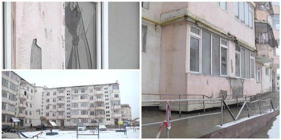 Балкон обрушился с пятого этажа в Таразе