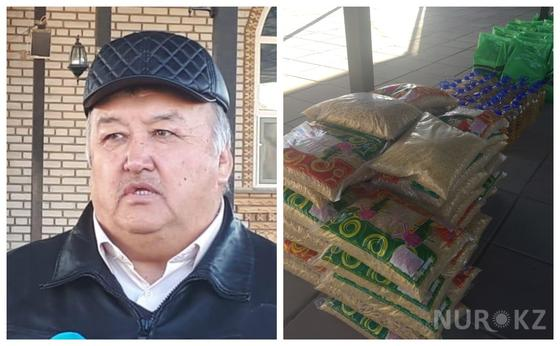 Шымкентский предприниматель раздал продукты первой необходимости 200 нуждающимся семьям