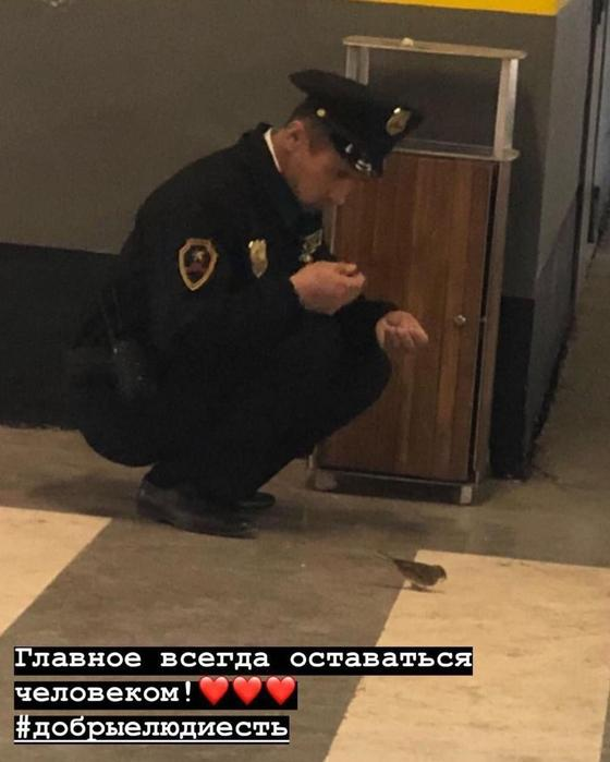 Кормящий воробушка охранник в Астане умилил соцсети (фото)