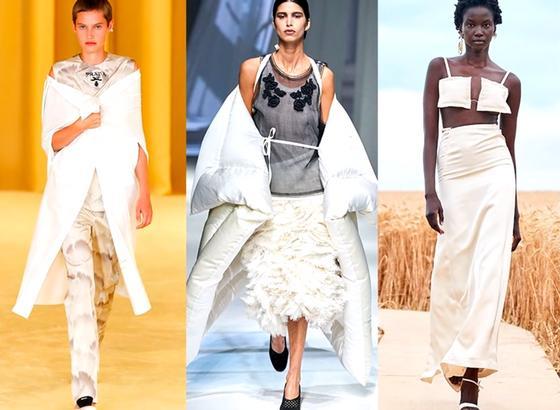 Вещи-одеяла на моделях на подиуме
