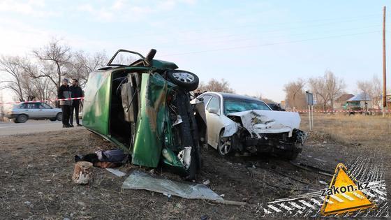 Место аварии в Алматинской области