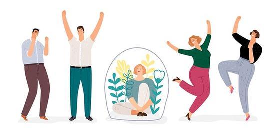 Человек под колпаком и танцующие люди вокруг