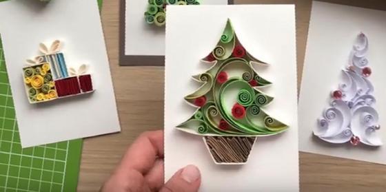 Открытки на Новый год в технике квиллинг с ёлочками