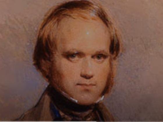 Чарльз Дарвин в молодости с бакенбардами и длинными волосами, тугим воротником под подбородком