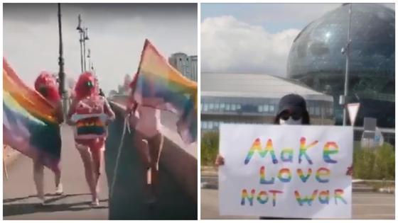 """""""Make Love. Not War"""": активисты устроили акцию в поддержку ЛГБТ-митинга в Нур-Султане"""