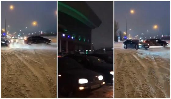 """Автомобиль перекрыл дорогу, чтобы проехал """"черный кортеж"""" в Нур-Султане"""