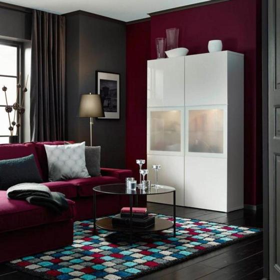 Дизайн дома в бордовом цвете