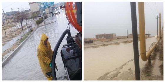 Проливной дождь затопил дворы и улицы в Мангистау
