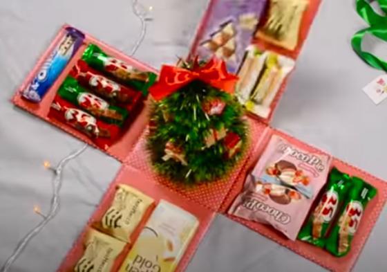 коробка-раскладушка, конфеты, елочка