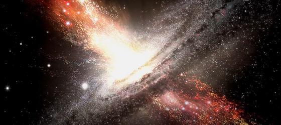 Яркий взрыв на фоне темного космического пространства