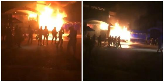 Пожар был на барахолке в Алматы
