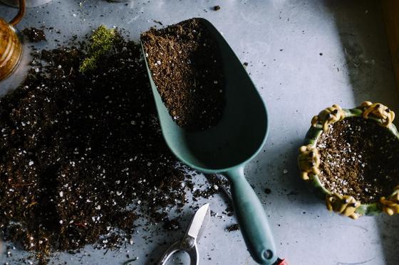 Почва для посадки растений и лопатка