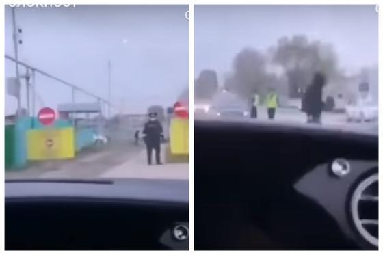 Алматыда Bentley көлігінің жүргізушісі блок-бекеттен өтіп кетіп, іс-әрекетін видеоға түсірді