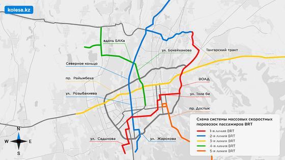 Схема системы массовых скоростных перевозок пассажиров BRT