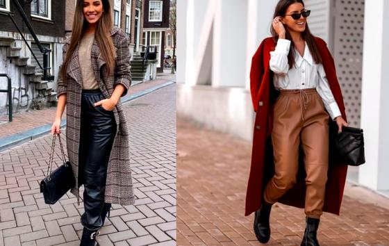 Кожаные джоггеры на моделях в сочетании с пальто