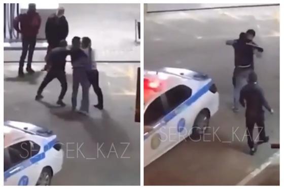 Драку мужчины и полицейского на АЗС сняли на видео в Алматы