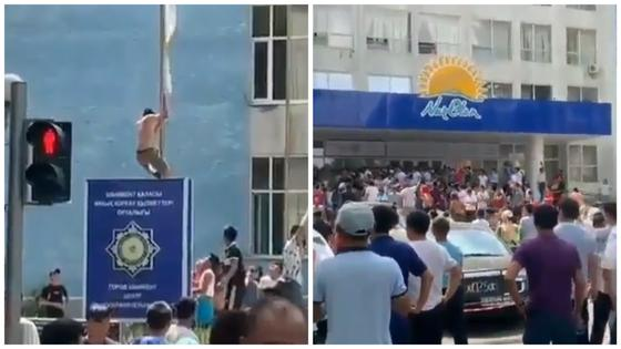 Митингующие жители Арыси пытались сорвать флаг партии Nur Otan (видео)