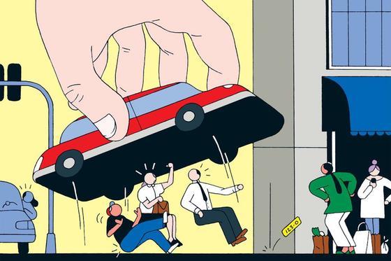 Иллюстрация, на которой нарисованная рука накрывает машиной людей