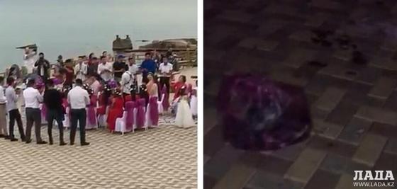 """""""Грязные"""" последствия свадебного тоя в Актау сняли на видео"""