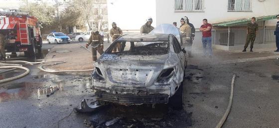 Автомобиль сгорел в пожаре