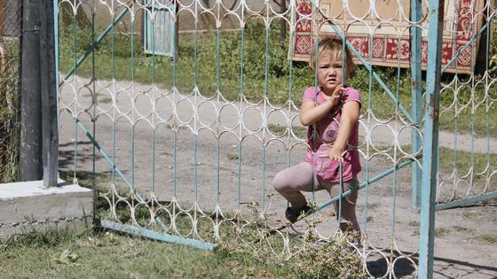 Девочка смотрит через забор