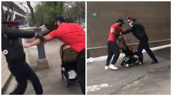 Полное видео конфликта полицейского и мужчины с коляской появилось в Сети