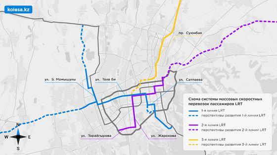 Схема системы массовых скоростных перевозок пассажиров LRT