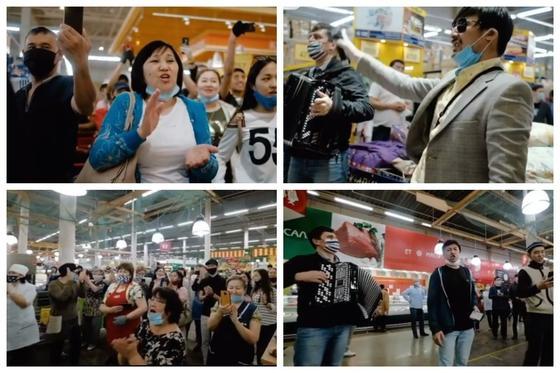 Жеңіс күні: Ақтөбеліктер супермаркетте қосыла ән шырқады (видео)