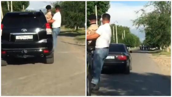 Необычный способ езды на машине сняли на видео в Алматы